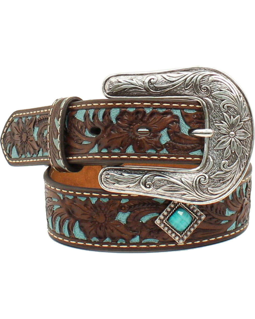 Ariat Girls Turq Tooled Concho Belt, Brown, hi-res
