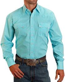 Stetson Men's Pattern Long Sleeve Shirt, Turquoise, hi-res