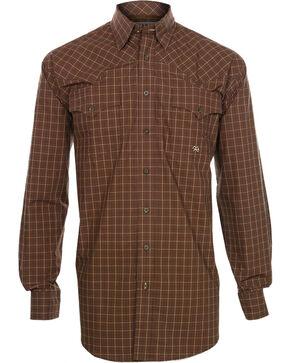 Miller Ranch Men's Plaid Long Sleeve Western Shirt, Brown, hi-res