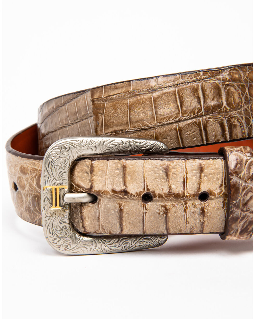 Lucchese Men's Burnished Hornback Caiman Leather Belt, Tan, hi-res