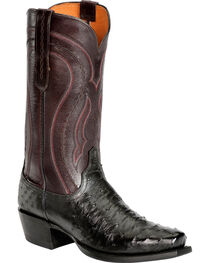 Lucchese Men's Montana Roper Toe Full Quill Ostrich Exotic Boots, , hi-res