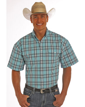 Panhandle Slim Men's Turquoise Poplin Plaid Short Sleeve Shirt, Turquoise, hi-res