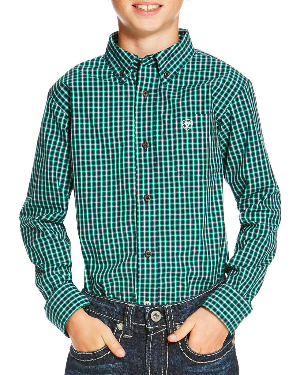 Ariat Boys' Indigo Odem Long Sleeve Shirt , Indigo, hi-res