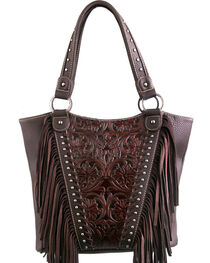 Montana West Trinity Ranch Coffee Tooled Design Concealed Handgun Collection Handbag, , hi-res