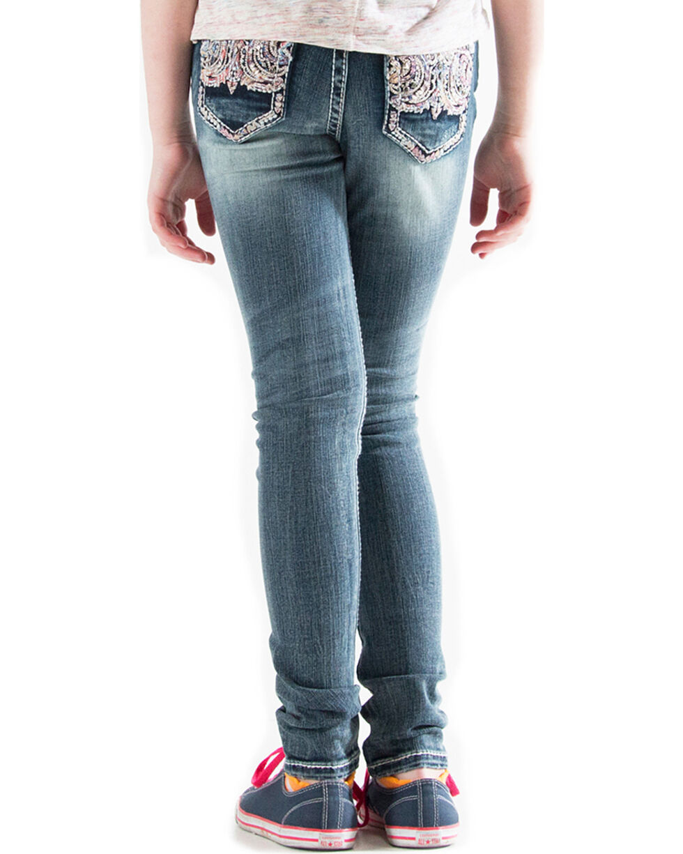 Grace in LA Girls' (7-16) Embellished Pocket Jeans - Skinny , Indigo, hi-res