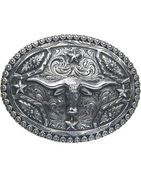 AndWest Men's Oval Longhorn & Stars Belt Buckle, Silver, hi-res