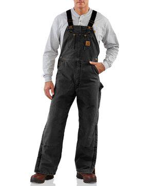 Carhartt Men's Sandstone Duck Quilt Lined Bib Overalls, Black, hi-res