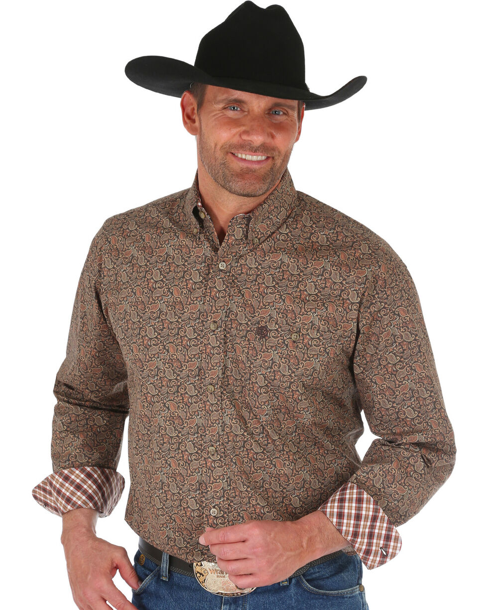 Wrangler George Strait Men's Tan Floral Print Shirt - Big, Tan, hi-res