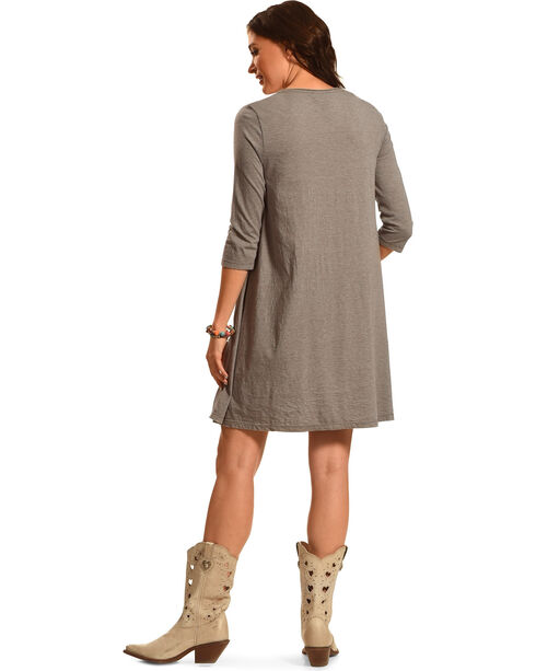 Johnny Was Women's Dorana 3/4 Sleeve Draped T-Shirt Tunic, Grey, hi-res