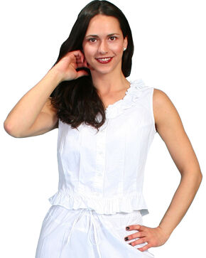 Rangewear by Scully Ruffled Sleeveless Top, White, hi-res