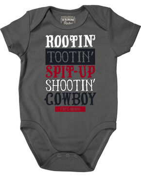 Farm Boy Infant Boys' Rootin' Tootin' Cowboy Creeper, Grey, hi-res