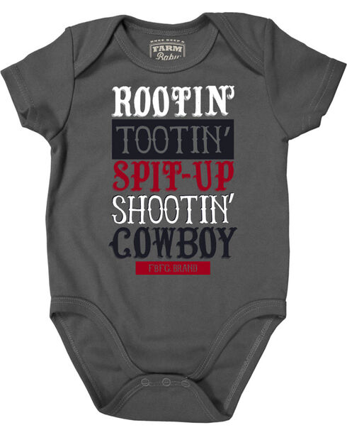 Farm Boy Infant Boys' Rootin' Tootin' Cowboy Creeper, Grey, hi-res