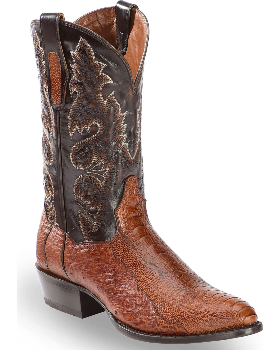 Dan Post Men's Ostrich Leg Cowboy Boots - Round Toe, Cognac, hi-res