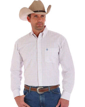 Wrangler Men's George Straight Long Sleeve Shirt, White, hi-res