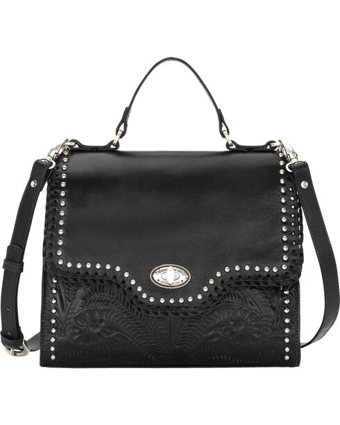 American West Women's Hidalgo Top Handle Convertible Flap Bag, Black, hi-res
