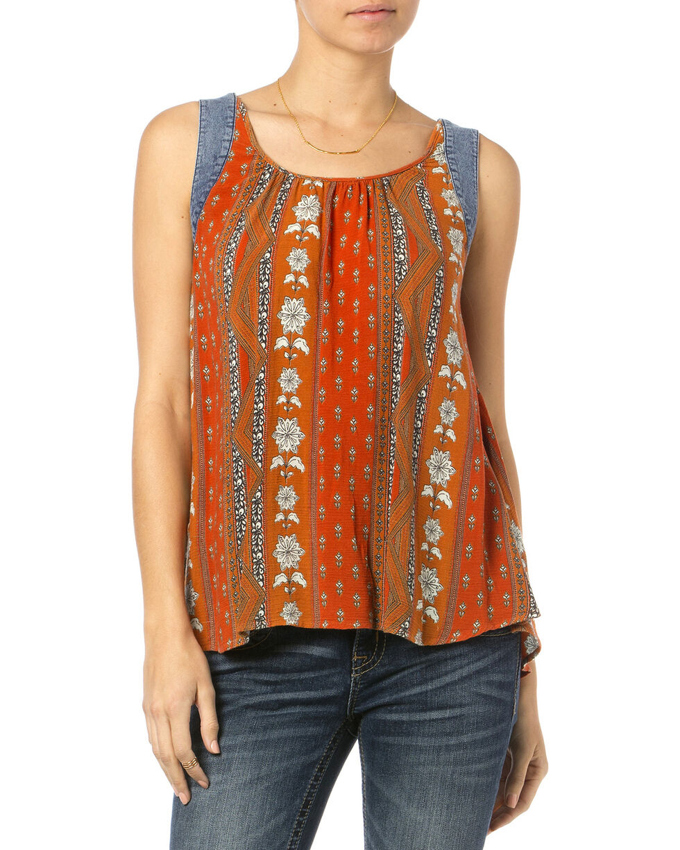 Miss Me Orange Mix Print Tank Top , Orange, hi-res