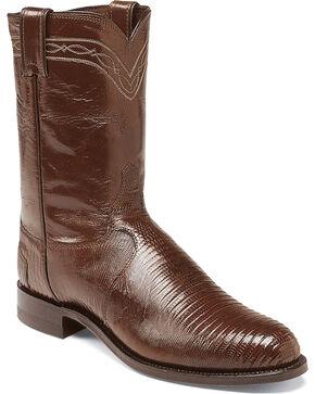 Justin Men's Iguana Lizard Western Boots, Chocolate, hi-res