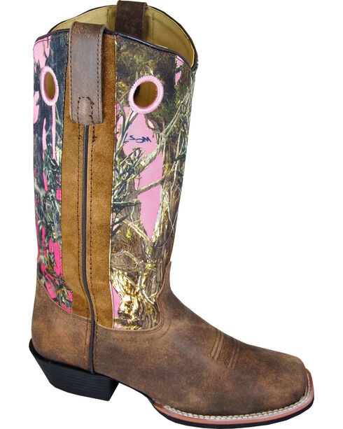 Smoky Mountain Tupelo Pink Camo Cowgirl Boots - Square Toe, Brown, hi-res