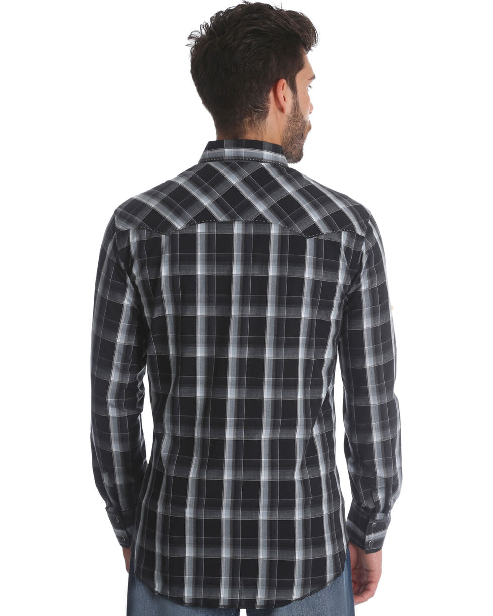 Wrangler Men's Black/Grey Plaid Long Sleeve Fashion Snap Shirt, Black, hi-res