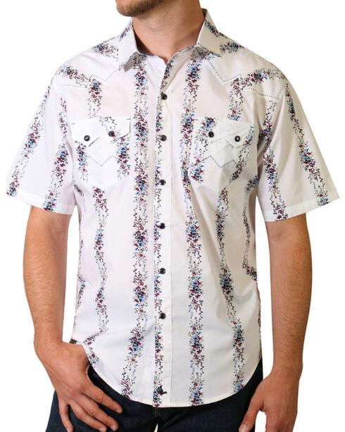 Cody James® Men's Vine Striped Short Sleeve Shirt, White, hi-res