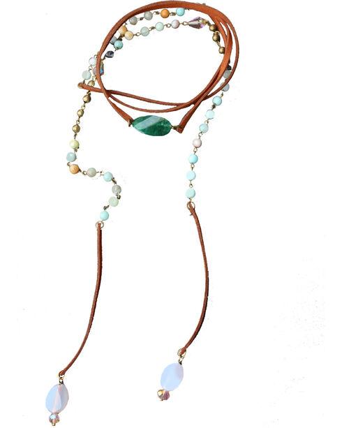 2 Queen B's Women's Green Serenity Wrap Suede Necklace , Light Green, hi-res
