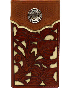 Nocona Men's Floral Overlay Western Wallet , Medium Brown, hi-res
