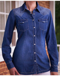 Ryan Michael Women's Quilted Yokes Denim Shirt, , hi-res