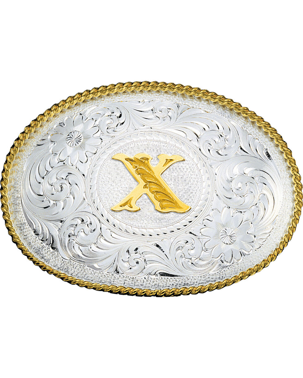 Montana Silversmiths Engraved Initial X Western Belt Buckle, Multi, hi-res
