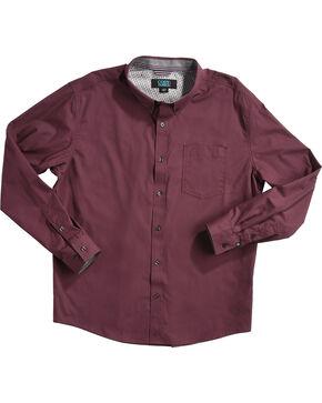 Cody James Men's Burgundy Long Sleeve Western Shirt, Burgundy, hi-res