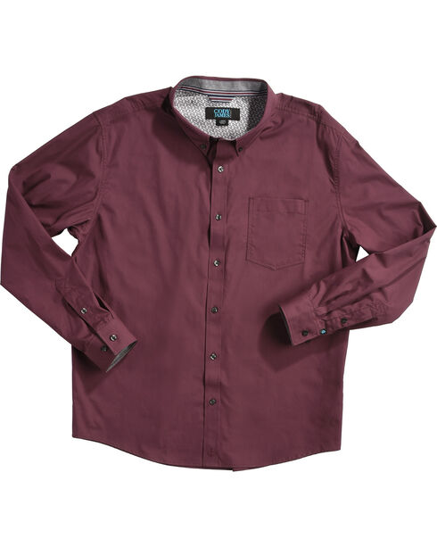 Cody James Men's Burgundy Long Sleeve Western Shirt, Burgundy, hi-res