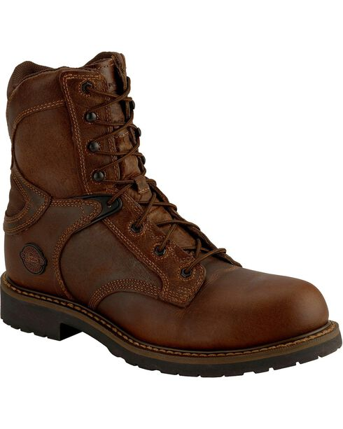 "Justin Men's Rugged 8"" Composition Toe Lace-Up Work Boots, Chocolate, hi-res"