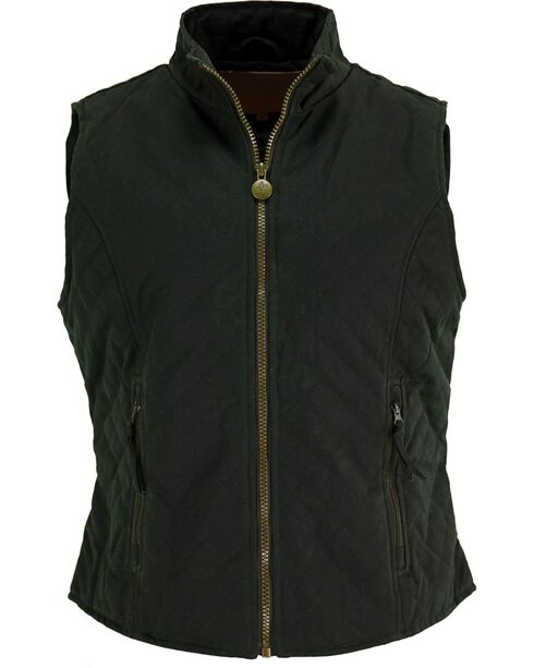 Outback Women's Oilskin Quilted Vest, Green, hi-res