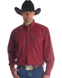 Wrangler Men's Red George Strait Button Down Shirt - Big & Tall , , hi-res