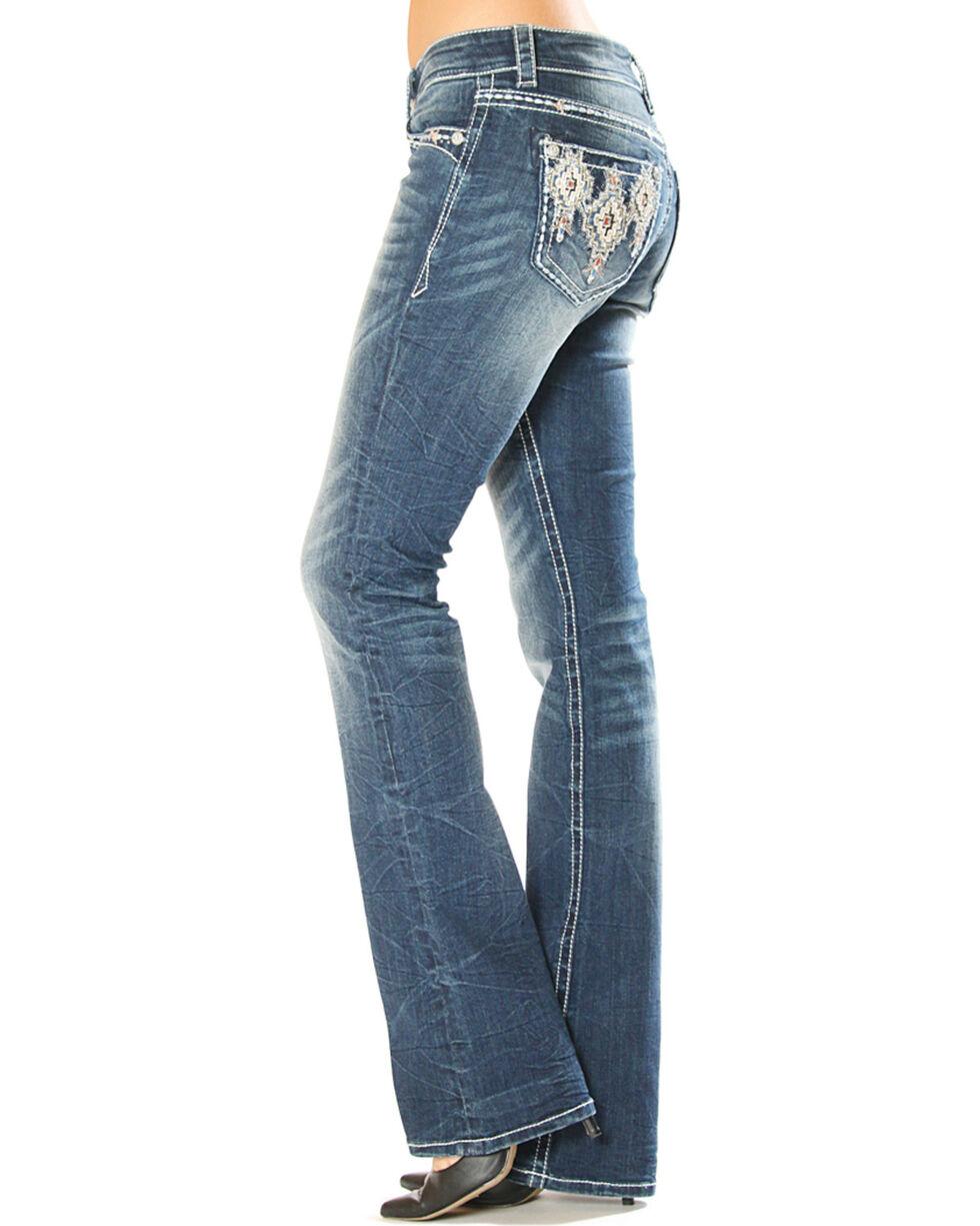 Grace in La Women's Aztec Pattern Pocket Jeans - Boot Cut , , hi-res