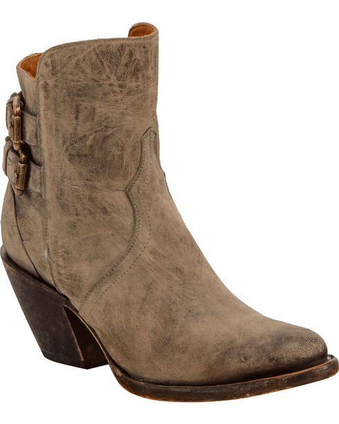 Lucchese Women's Catalina Distressed Leather Booties - Round Toe , Grey, hi-res