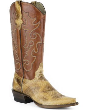 Stetson Women's Rosa Snip Toe Western Boots, Tan, hi-res