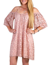 Jody Of California Women's Blush Cold Shoulder Lace Dress , , hi-res