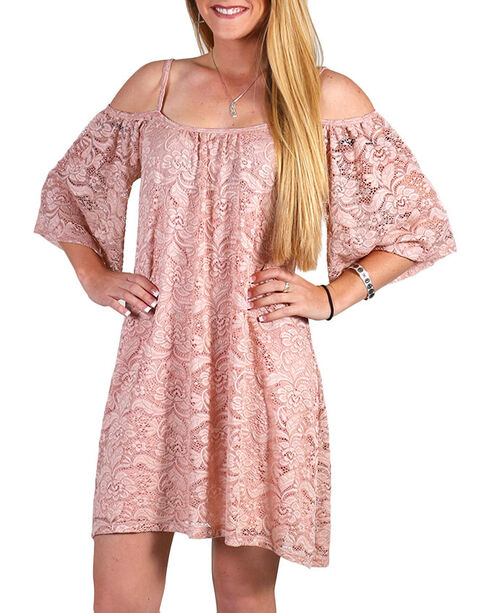Jody Of California Women's Blush Cold Shoulder Lace Dress , Blush, hi-res