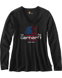 Carhartt Women's American Flag Screen Print Long Sleeve T-Shirt, , hi-res