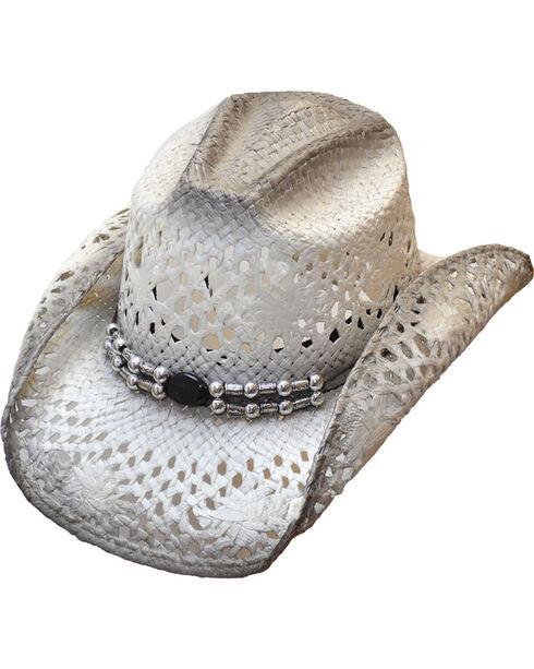 Western Express Women's White/Grey Straw Cowgirl Hat, White, hi-res