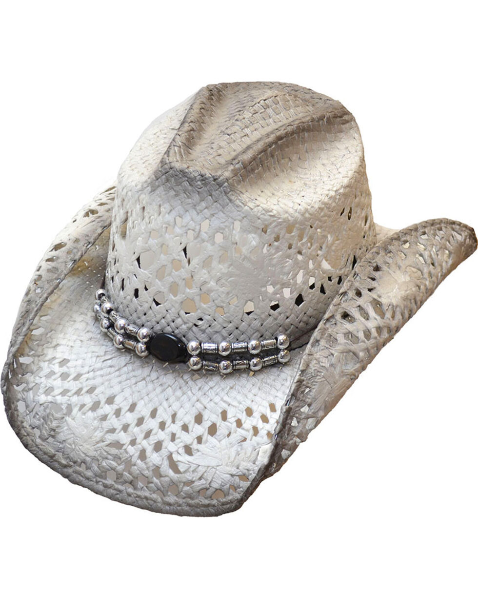Western Express Women's White/Grey Straw Cowgirl Hat, White, hi-res
