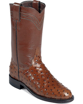 "Justin Men's 10"" Full Quill Ostrich Exotic Boots, Brown, hi-res"