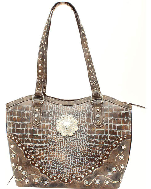 Blazin' Roxx Women's Faux Gator Skin Purse, Blue, hi-res