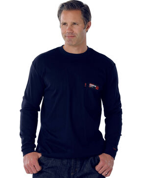 Cinch Navy Flame Resistant Long Sleeve Work Shirt, Navy, hi-res