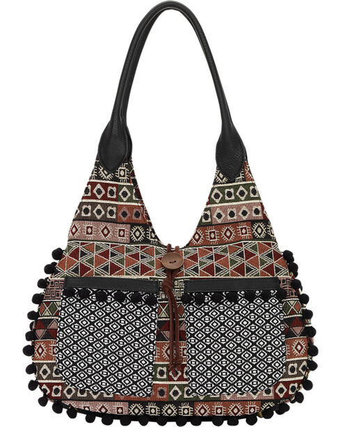 Bandana by American West Black Tulum Scoop Top Tote , Black, hi-res