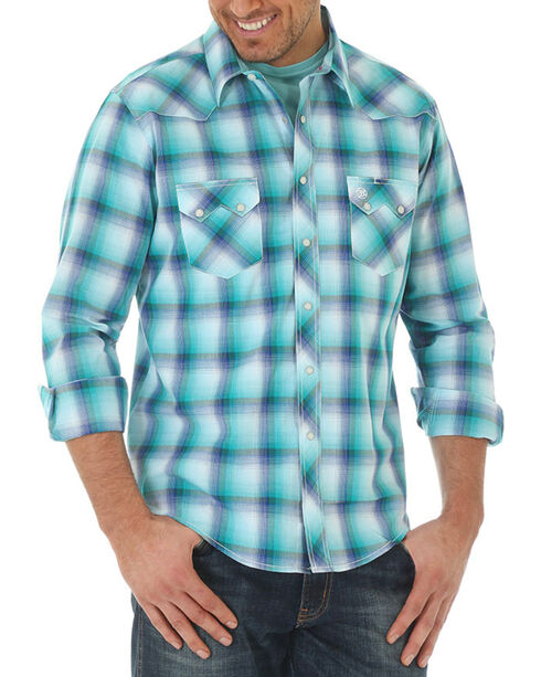 Wrangler Men's Plaid Double Sawtooth Long Sleeve Shirt, Blue, hi-res