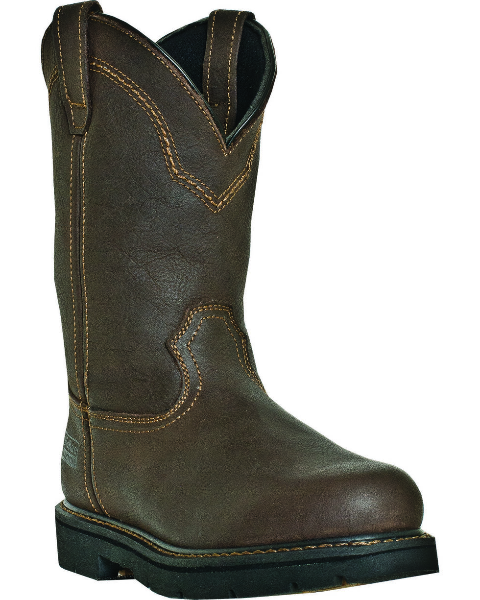 "McRae Men's 11"" Pull-On Steel Toe Work Boots, Brown, hi-res"