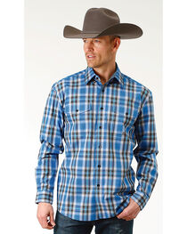 Roper Men's Crystal Blue Plaid Long Sleeve Button Down Shirt - Big & Tall, , hi-res