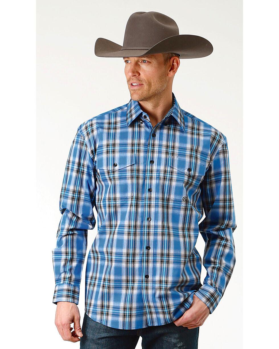 Roper Men's Crystal Blue Plaid Long Sleeve Button Down Shirt - Big & Tall, Blue, hi-res