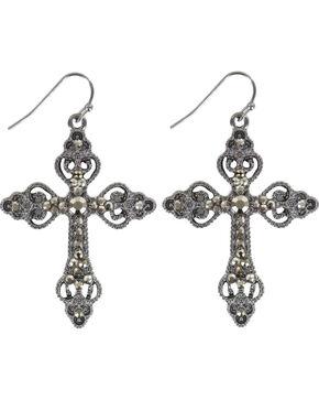 Shyanne® Women's Bling Cross Earrings, Silver, hi-res